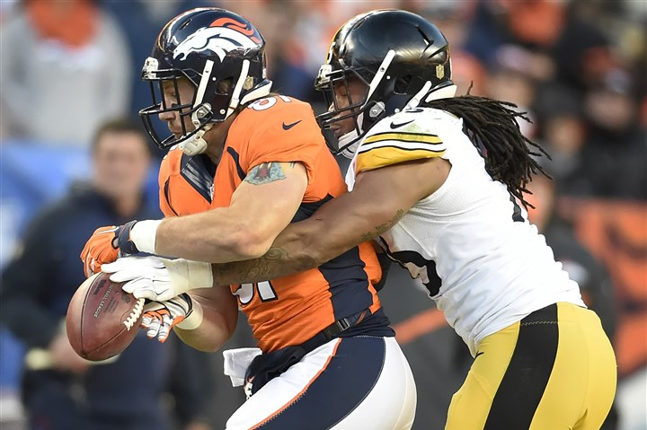 20160117pdSteelersSports22-1 Jarvis Jones breaks up a pass intended for the Broncos' Owen Daniels during the AFC divisional playoff game Jan. 17 in Denver.