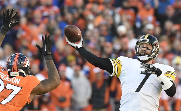 20160117pdSteelersSports17 The Broncos' Malik Jackson pressures Steelers quarterback Ben Roethlisberger in the fourth quarter in Sunday's game in Denver.