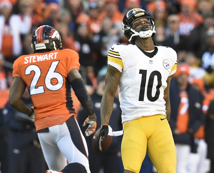 web_20160117pdSteelersSports16 (Copy) Martavis Bryant reacts after dropping pass for first down yardage Sunday in Denver.