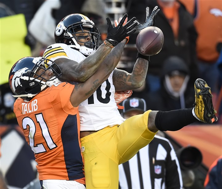 20160117pdSteelersSports10-2 Broncos Aqib Talib breaks up pass in the end zone intended for Pittsburgh Steelers Martavis Bryant in the third quarter Sunday in Denver.