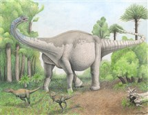 A reconstruction of the gigantic new titanosaurian dinosaur species Notocolossus gonzalezparejasi in southern Mendoza Province, Argentina. Notocolossus is shown threatening a pair of much smaller, carnivorous abelisaurid dinosaurs.