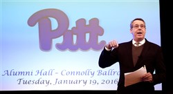 Pitt athletic director Scott Barnes was the host of a town hall meeting Tuesday night at Alumni Hall in Oakland.