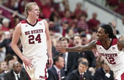 North Carolina State's Maverick Rowan (24) and Anthony Barber (12) will lead the Wolfpack against Pitt.