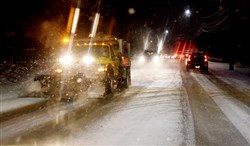 The Weather Service forecasts about 2 to 4 inches through the rush-hour commute Tuesday.