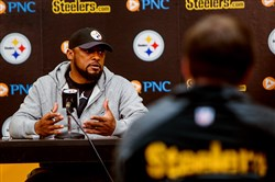 Steelers coach Mike Tomlin speaks to the media for his final weekly news conference Wednesday.