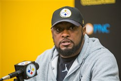 Steelers coach Mike Tomlin speaks to reporters Jan. 20 at the Steelers South Side training facility.