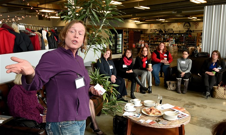 20160113radEntrepreneurshipBiz05-4 Patricia Fowler of Flowerama talks about her company at the women's networking event sponsored by Chatham University's Center for Women's Entrepreneurship last week at Marty's Market on Smallman Street in the Strip District.