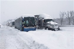 Buses at standstill on the Pennsylvania Turnpike the morning of Jan. 23.
