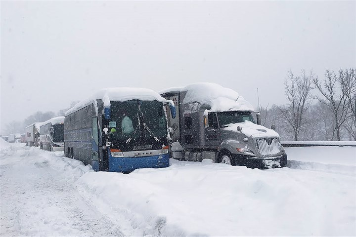 turnpike.jpg Buses and trucks at a standstill on Pennsylvania Turnpike, Jan.23.