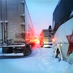 webDUKE_CCV The Duquesne Athletic department posted on Twitter this photo of the Duquesne University basketball team's bus stuck on the PA Turnpike Saturday. Somerset County emergency crews brought them food.