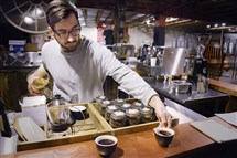 Nick Oddo used the Chemex with the filter to make two cups of gelana abaya at Commonplace Coffee in Larimer.