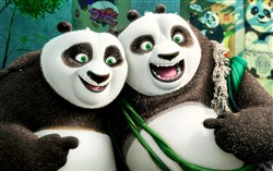 "Po (voiced by Jack Black) and his long-lost panda father Li (voiced by Bryan Cranston) in ""Kung Fu Panda 3."""