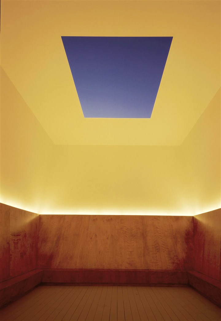 "turrell0125bn This Skyspace, titled ""Unseen Blue,"" was created by artist James Turrell for a 2002 exhibition at the Mattress Factory museum. It includes a bench. The artist has gifted a Skyspace to the museum to be installed in 2017."