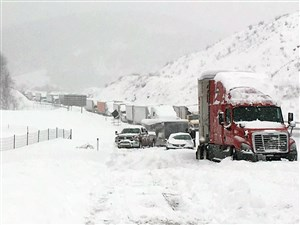 Traffic is at a standstill on the Pennsylvania Turnpike near Bedford Jan. 23. A mammoth winter storm crawled up the U.S. East Coast on Saturday, stranding 500 vehicles on the Pennsylvania Turnpike.