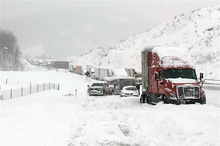Big Snowstorm Pennsylvania Turnpike Motorists sit trapped on the turnpike during a January snow storm.