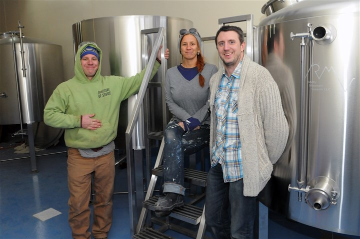 20160122JHMagBrew01  Matt Yurkovich, left, his sister, Amy Yurkovich, and Al Grasso, owners of the Allegheny Brewery on the North Side.