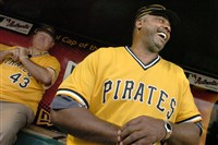 Ex-Pittsburgh Pirate Dave Parker shares a laugh with 1979 teammate Don Robinson (back) prior to honoring the 1979 World Champion Pirates at PNC Park, Pittsburgh.