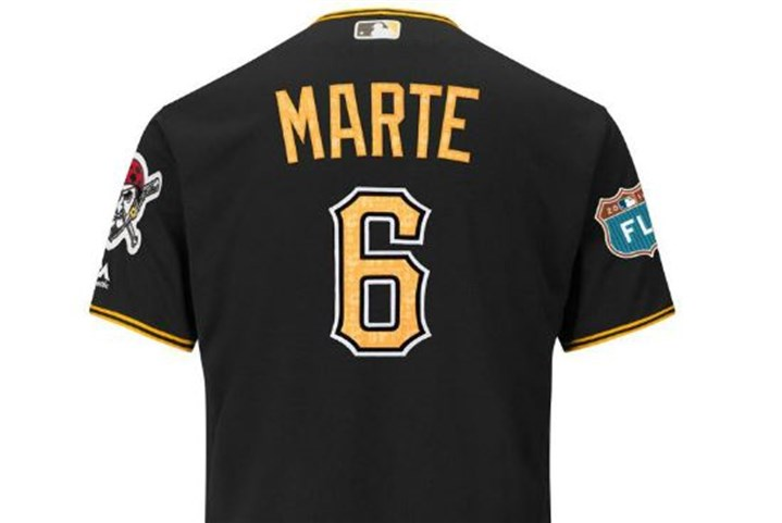 Pirates 2016 spring jersey An example of the Pirates' 2016 spring training jersey.