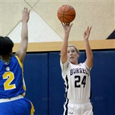 Burrell forward Natalie Myers gets a shot up in a January game against East Allegheny.