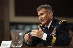 Army Lt. Gen. John Nicholson Jr. testifies on Capitol Hill in Washington on Thursday before the the Senate Armed Services Committee hearing on his nomination to become next top American commander in Afghanistan.