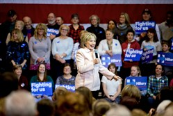 Democratic presidential candidate Hillary Clinton speaks Friday at a rally at Five Flags Center in Dubuque, Iowa.