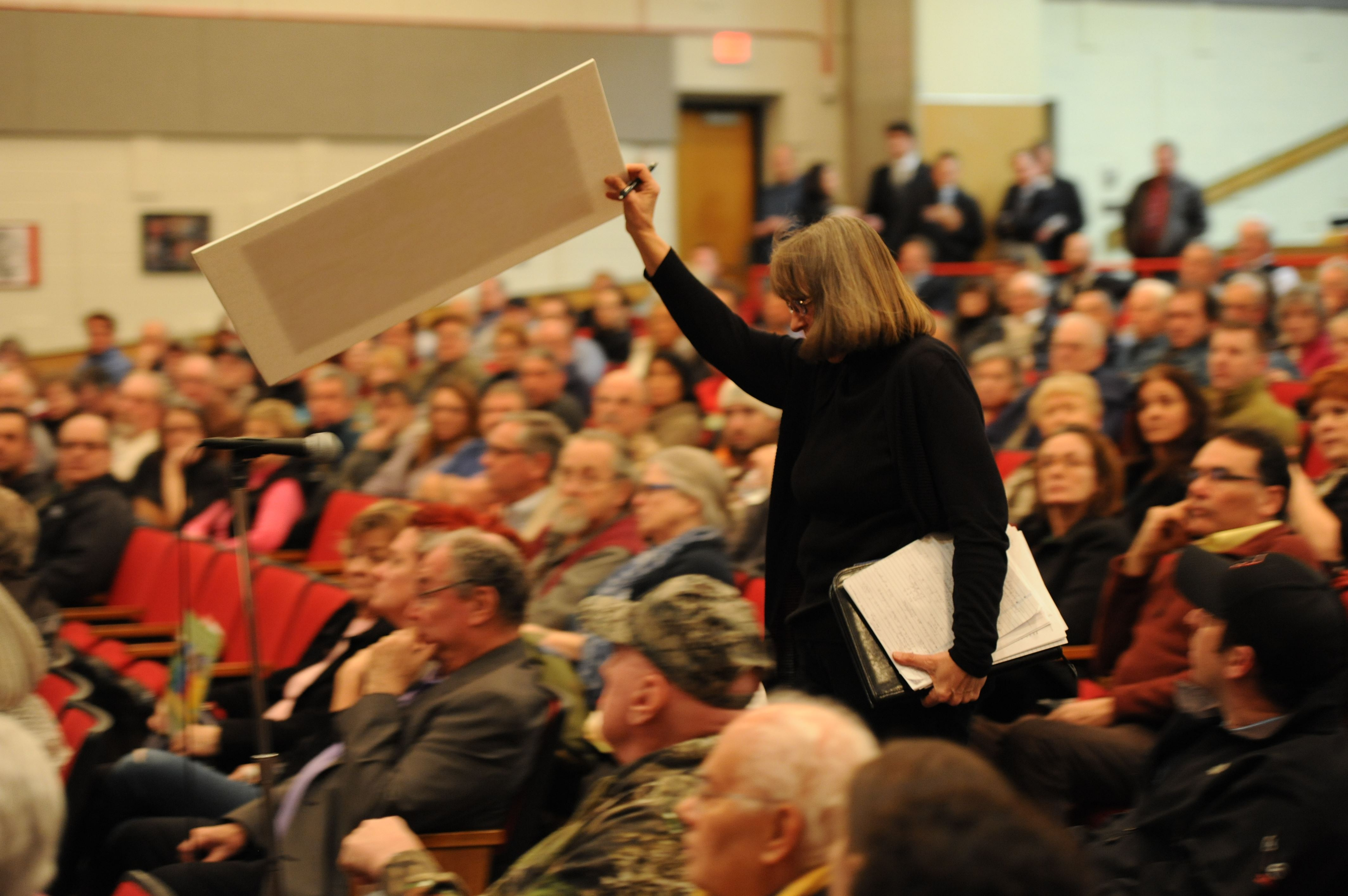 20160128rld-PowerPlant01 In January 2016, Elizabeth resident Patty Hoffman objects during a presentation by Nick Cohen, director of thermal development at Invenergy, during a community meeting at Elizabeth Forward Middle School auditorium.