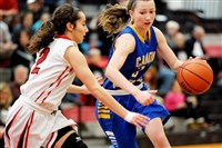Canon-McMillan's Cheyenne Trest tries to get around Peters Township's Ally Zuccarini in a game last Saturday.