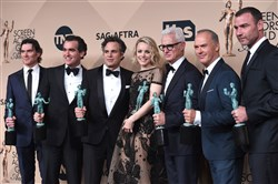 "The cast of ""Spotlight,"" from left, Billy Crudup, Brian d'Arcy James, Mark Ruffalo, Rachel McAdams, John Slattery, Michael Keaton and Liev Schreiber."