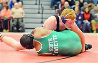 Nathan Barcaskey of Moon Area controls Rasaun Culberson of South Fayette in the 220-pound final at the Allegheny County Tournament. Barcaskey stopped Culberson, 9-1, to win the title.