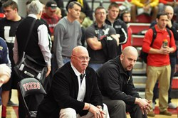 Longtime coach Bob Ladick, left, has joined his son Michael Ladick, right, as an assistant wrestling coach at Thomas Jefferson.