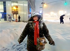 Halfway through the snowfall during the blizzard of 2016 on Saturday, Jan. 23, when 30 inches of snow fell on the city, Post-Gazette theater writer Sharon Eberson arrives near her hotel at 40th Street and Sixth Avenue after a 13-block walk.