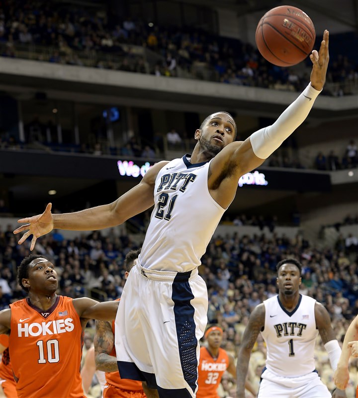 20160131mfpittsports02-1 Pitt's Sheldon Jeter grabs a rebound in front of Virginia Tech's Justin Bibbs in the first half of Sunday's game at Petersen Events Center.