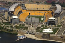Heinz Field, as seen from the Spirit of Goodyear blimp in 2001. Without a domed roof or significant upgrades, it likely will not be viable to house the Super Bowl in 2023.