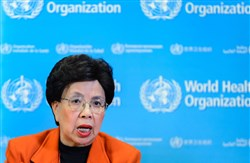 World Health Organization chief Margaret Chan gives a news conference Monday in Geneva.