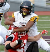 Central Catholic's Damar Hamlin, making a tackle in the PIAA title game, announced Monday that he was going to Pitt.