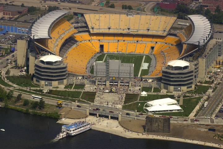 9mp00lht-2 Heinz Field, as seen from the Spirit of Goodyear blimp in 2001. Without a domed roof or significant upgrades, it likely will not be viable to house the Super Bowl in 2023.