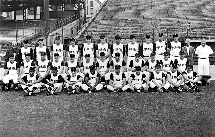 Pittsburgh Pirates 1960 This team photo of the Pittsburgh Pirates was taken early in the 1960 season. Row 1, from left,: Gene Baker, Roberto Clemente, batboy Bob Recker, Joe Christopher, Tom Cheney, Roy Face, Rocky Nelson, Bill Mazeroski, Bob Oldis. Row 2: Manager Danny Murtaugh, coach Frank Oceak, coach Sam Narron, coach Bill Burwell, coach Lenny Levy, Smoky Burgess, Dick Schofield, Gino Cimoli, Bob Skinner, Hal Smith, Bill Virdon, Don Hoak. Row 3: Traveling secretary Bob Rice, Harvey Haddix, Bob Friend, coach Mickey Vernon, Dick Groat, Joe Gibbon, Dick Stuart, Earl Francis, George Witt, Vernon Law, Fred Green, Wilmer Mizell, coach George Sisler, trainer Danny Whealan.