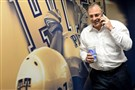 Pitt coach Pat Narduzzi talks to a recruit during last year's national signing day.