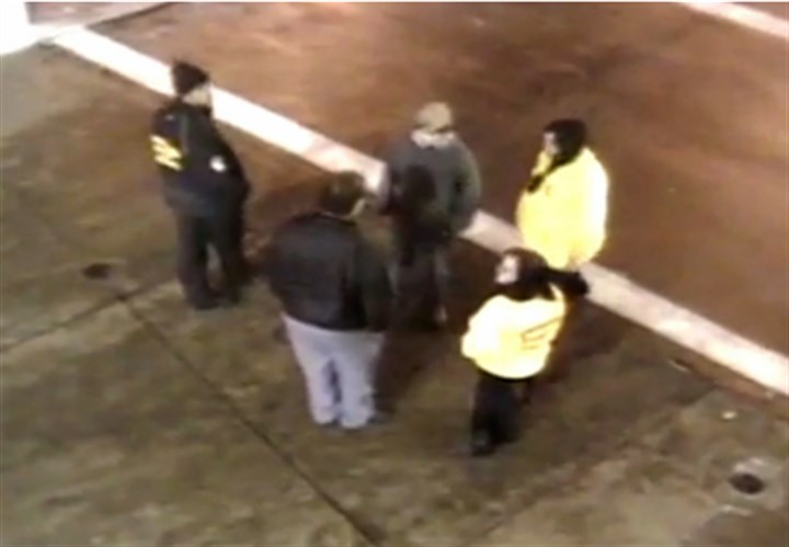 matakovich 02032016 This is a screen shot that shows Heinz Field event staff talking to Gabriel Despres, center, before he is approached by police.