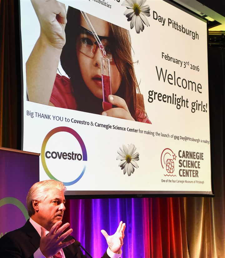 20160203radGreenlightBiz04-3 Covestro President Jerry MacCleary speaks at the opening of a science workshop to promote STEM education at the Carnegie Science Center.