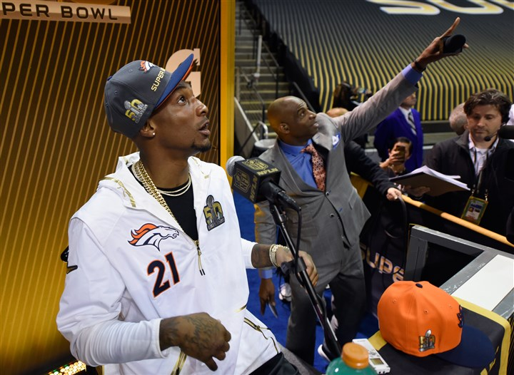 talib0203A Denver Broncos cornerback Aqib Talib (21), at Super Bowl media day, is attempting to write one more golden script.