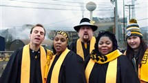 Shown in a still from a YouTube video singing in front of the Edgar Thomson Works in Braddock are, from left, Michael Grayson of Center; Tanya Young of Royersford, Montgomery County; Eli Pievach of Weirton, W.Va.; Anita Levels of the East End; and Carson Lutchansky of Squirrel Hill.