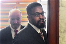 McKeesport Councilman Corey Sanders leaves the office of Common Pleas Judge Joseph M. James on Friday.
