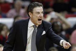Louisville coach Rick Pitino yells during a game against North Carolina State on Feb. 5 in Raleigh, N.C.