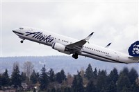 An Alaska Airlines jet takes off at Seattle-Tacoma International Airport in 2015.