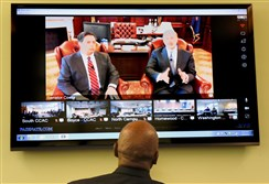 Allegheny County Community College president Quintin Bullock listens to a teleconference with Gov. Tom Wolf and state. Sen. Jay Costa with faculty and staff of all the school's campuses Tuesday afternoon. The governor submitted next year's budget to the legislature, with the current budget unresolved after seven months.
