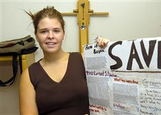 In this May 30, 2013, file photo, Kayla Mueller is shown after speaking to a group in Prescott, Ariz.