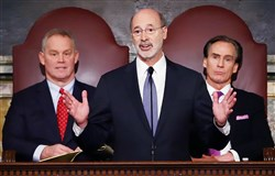Gov. Tom Wolf delivers his budget address for the 2016-17 fiscal year to a joint session of the Pennsylvania House and Senate Tuesday in Harrisburg. Behind him are House Speaker Mike Turzai, R-Marshall, left, and Lt. Gov. Mike Stack.