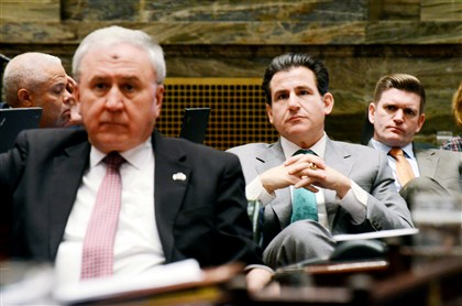 State Sen. John Rafferty, Sen. Larry Farnese and Sen. John Yudichak listen Wednesday during floor debate over a resolution on whether to remove Attorney General Kathleen Kane from office.