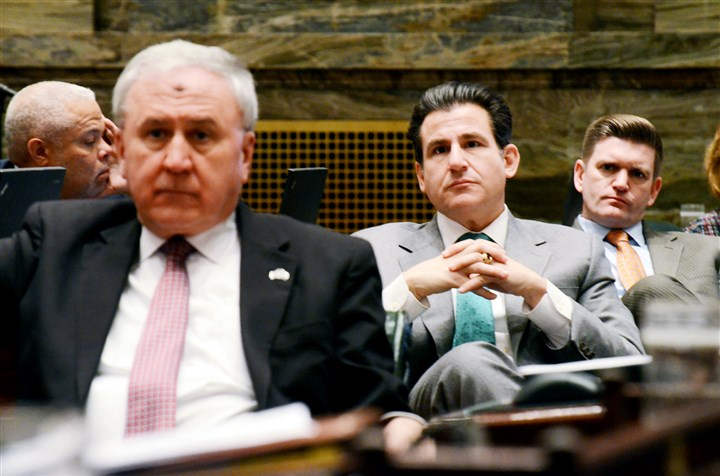 Pennsylvania Attorney General-4 Sens. John Rafferty, Larry Farnese and John Yudichak listen Wednesday to the floor debate in Harrisburg. Some senators had challenged Kathleen Kane's ability to do her job after the state Supreme Court suspended her law license.